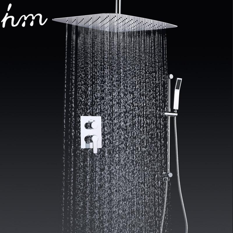 Hm-حنفية الحمام والدش المثبتة على الحائط مقاس 16 بوصة ، رفيعة للغاية ، موفرة للمياه