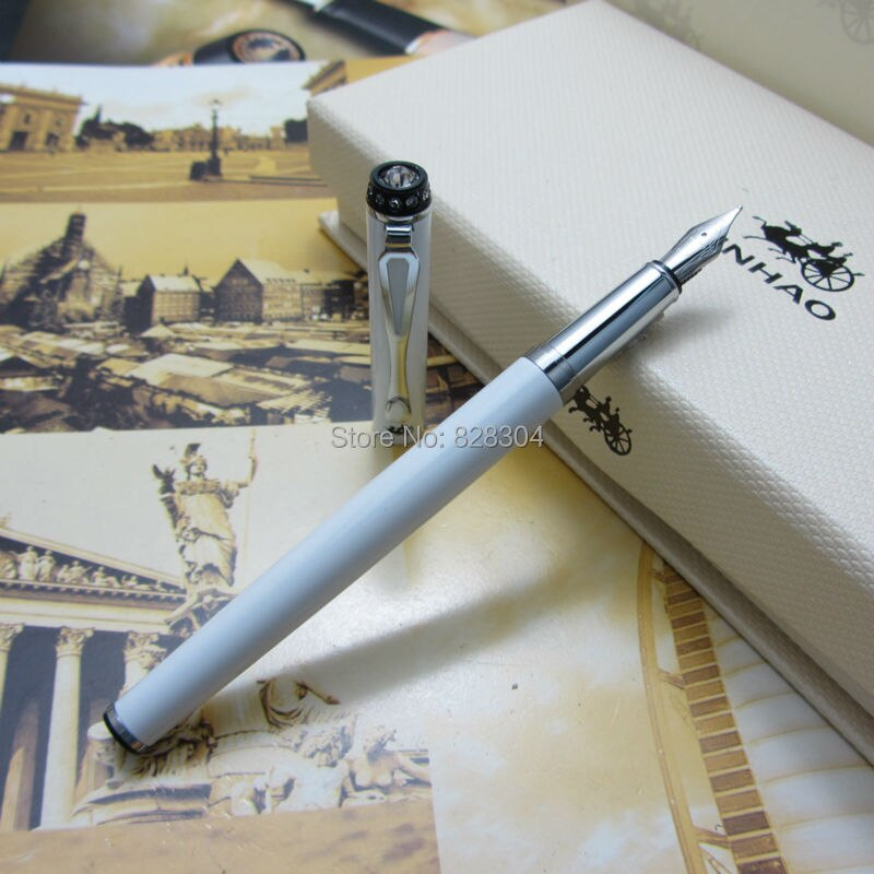 12 pcs jinhao fountain pen wholesale trade 0.5MM finance pen effort clip the top silver metal pen diamond gift pen