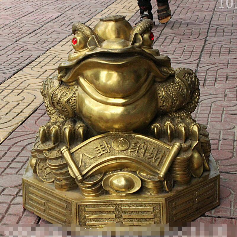 Shun77 + + + 18 الصينية فنغشوي النحاس النحاس الذهبي العلجوم Hoptoad الثروة عملة يوان باو تمثال