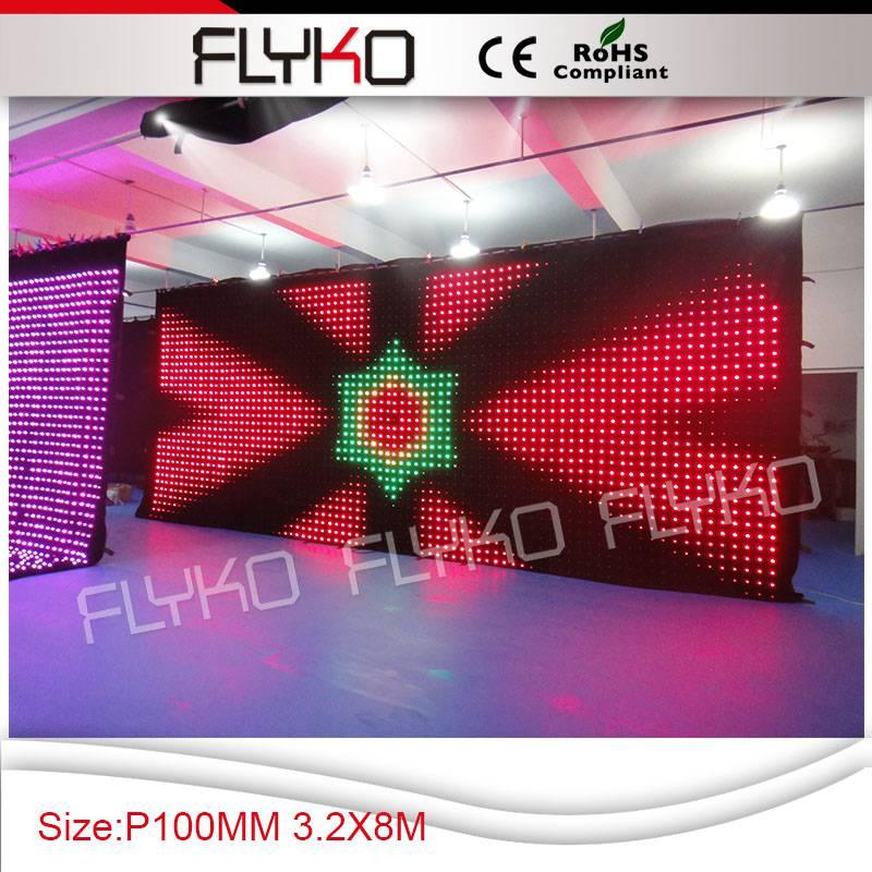Flyko EFECTO DE ETAPA led pantalla de vídeo etapa telón de fondo p100 3,2 m * 8 m controlador de PC