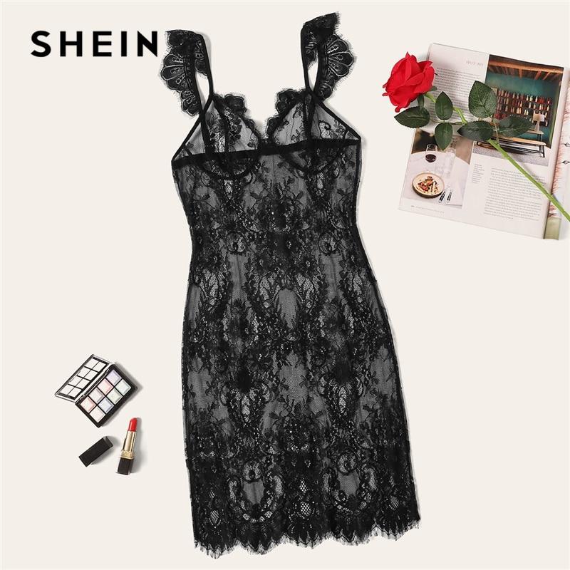 SHEIN Sexy negro transparente festoneado Slip Lace Camisola mujer verano 2019 sólido Mini Sexy ropa de dormir