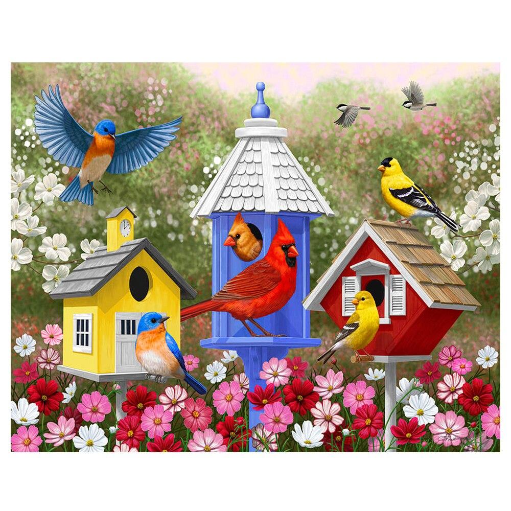 Diamante bordado paisagem flor aves imagens de strass diy pintura diamante quadrado completo mosaico artesanato hobby