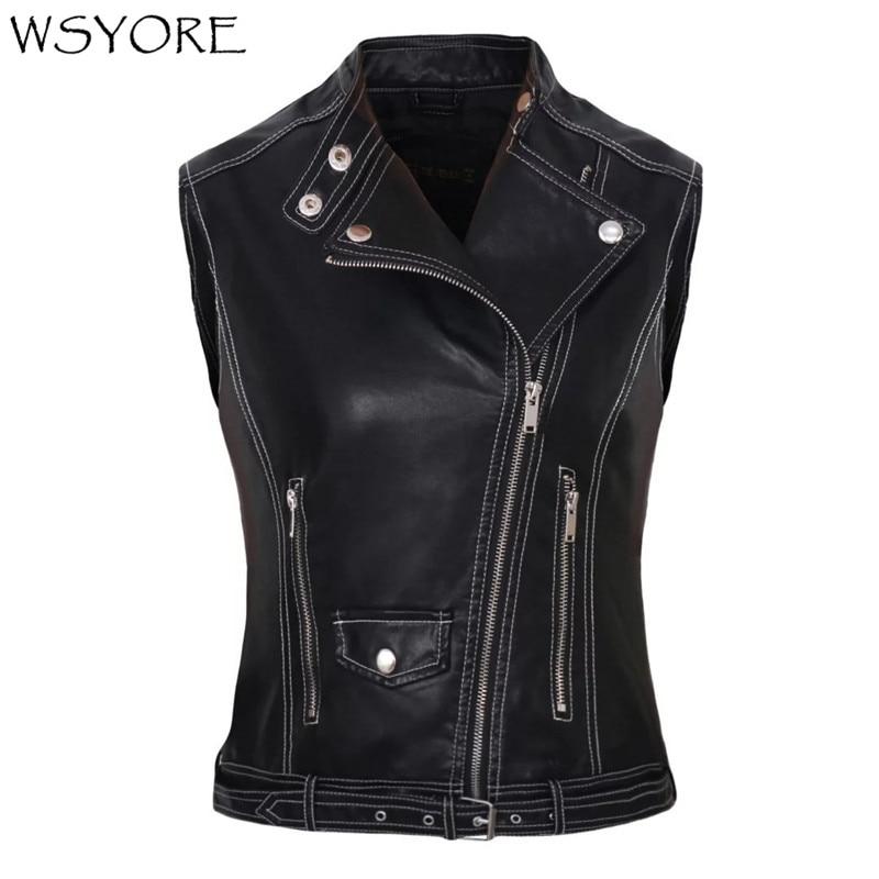WSYORE 2020 New Spring and Autumn Europe Women's Sleeveless Locomotive PU Jacket Fashion Lady's Faux Leather Vest NS324