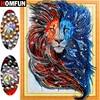 Cuadro de León con diamantes de Forma especial HOMFUN, cuadro de diamantes de imitación 5D DIY, 5D bordado de diamantes, Animal, decoración del hogar, regalo, 40x50cm