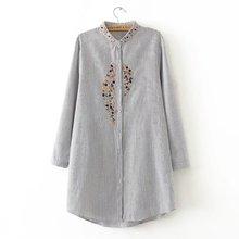 Frauen elegante plus größe top stickerei lange shirts striped voll baumwolle langarm lose bluse stehkragen casual blusas femm