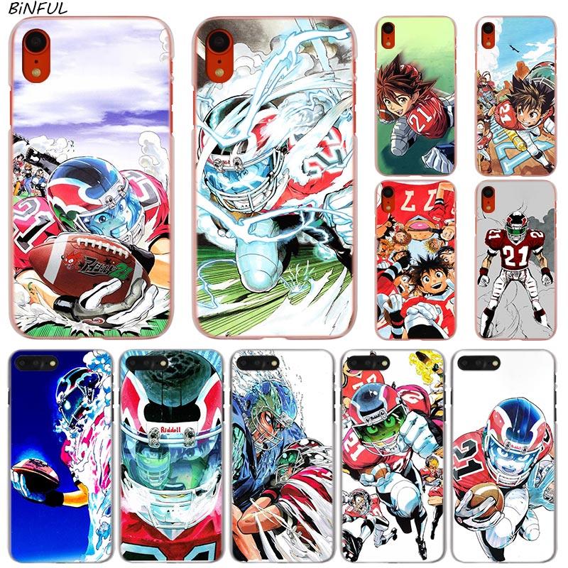 Eyeshield 21 moda quente transparente capa dura do telefone para o iphone x xs max xr 8 7 6s plus 5 se 5c 4 4S