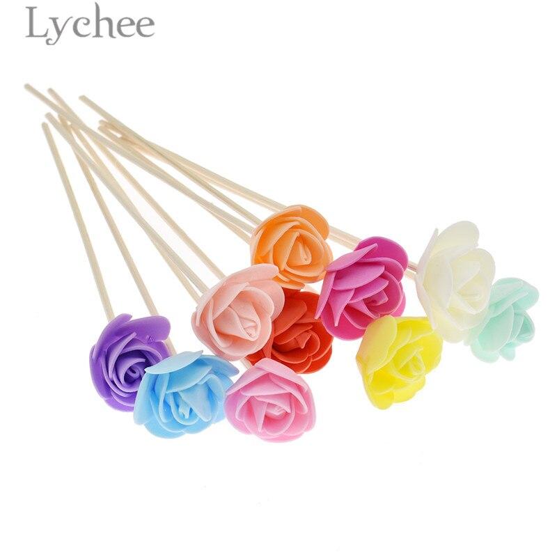 Lychee, 10 Uds., difusor de fragancia de ratán, varillas de repuesto, palo de flores artificiales, aromaterapia de incienso, decoración del hogar