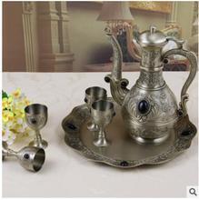 Ensemble de vin en métal de couleur bronze   1pot + 4 tasses + 1 plateau, carafe à vin, équipement de bar, carafe à whisky décorative pour maison, deocr JJ062