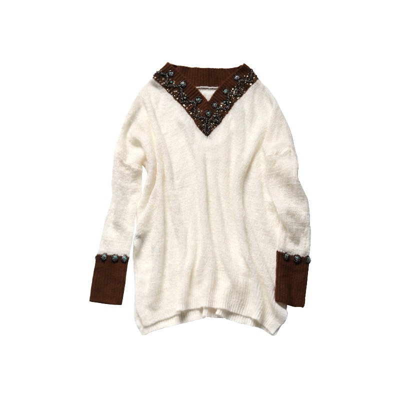 2018 Women Sweaters And Pullovers Top Computer Knitted V-neck Full Poncho New Woman Sweater Loose Hollow Wool Jacket Head Beads enlarge