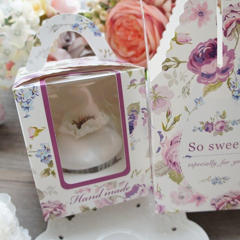 9*9*10 см так сладкий цветок фиолетовая тема бумажная коробка для кекса, как печенья конфеты Рождество девушка день рождения подарки упаковка ...