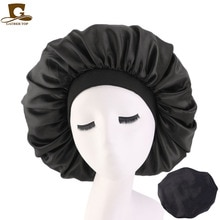 New Women Big Size Beauty print Satin Silky Bonnet Sleep Night Cap Head Cover Bonnet Hat for For Cur