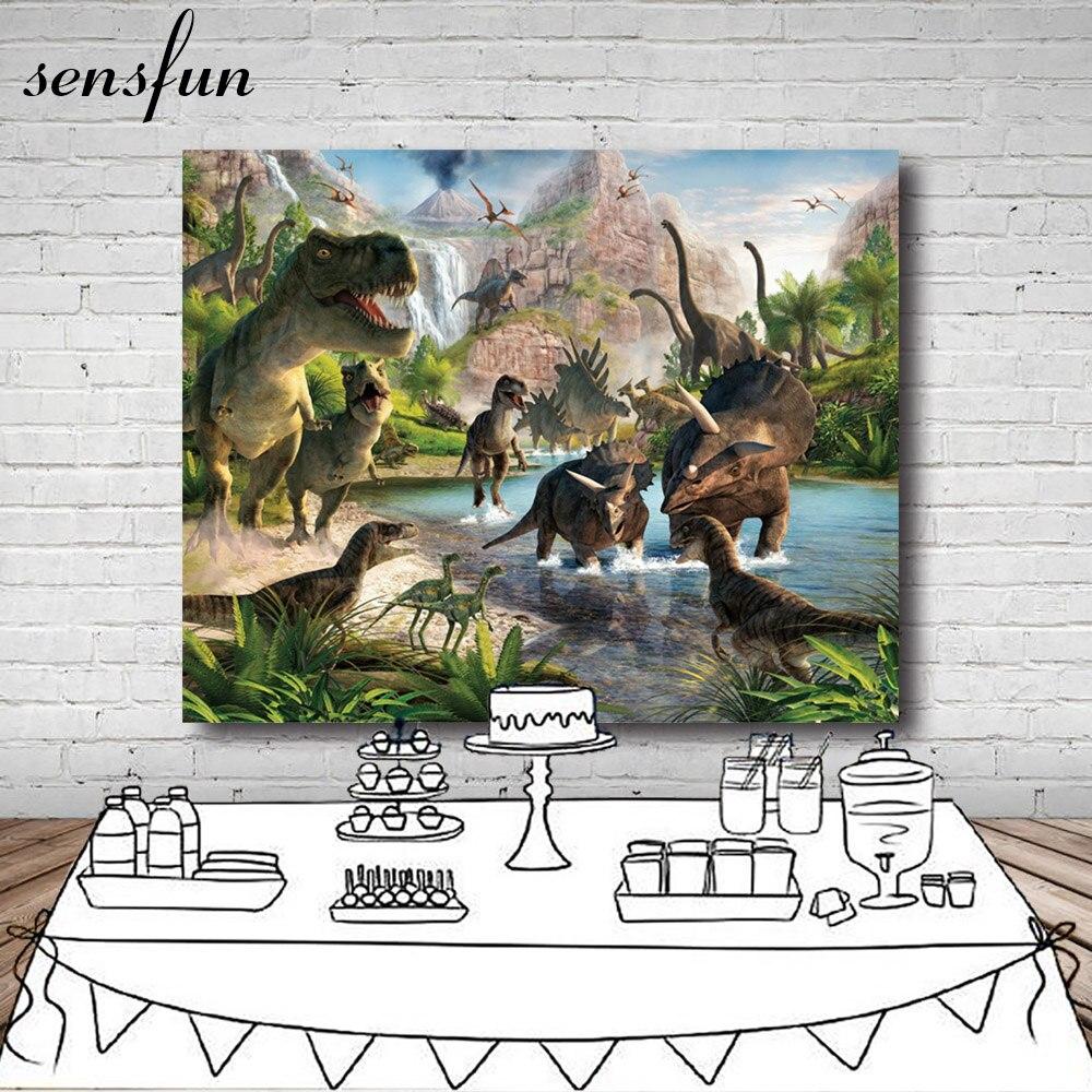 Telón de fondo de vinilo para fotografía para fiesta de dinosaurio de época Parque Jurásico para estudio fotográfico