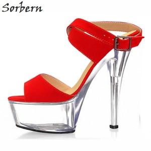 Sorbern Transparent Heels Sandals Sweet Party Decorations Shoes Ankle Strap Size 10 Summer Open Toe Women Platform Sandals