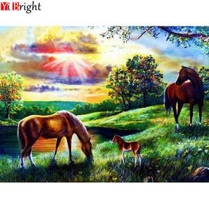 Алмазная живопись «сделай сам», мозаика, вышивка, полная круглая Алмазная вышивка, пейзаж, рисунок лошадей, украшение для дома, мозаика, картина XY1