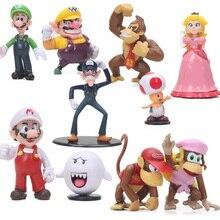 4-7 cm lot de 10 figurines Super Mario Luigi Wario Waluigi âne kong crapaud pêche champignon Boo figurines Super Mario Bros jouets