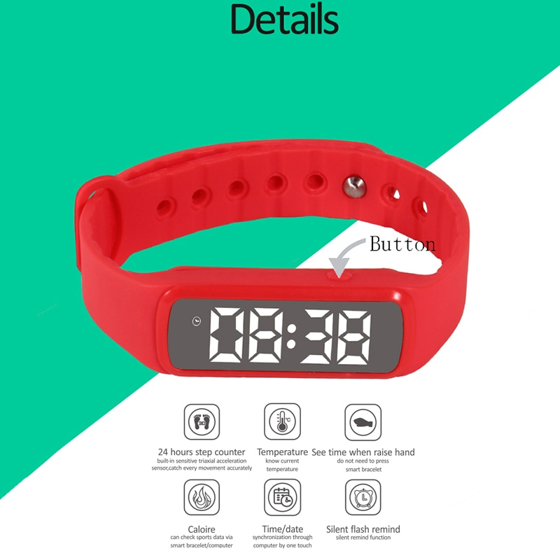 2017 best selling multifunction Smartband 24Hours Step Counter Calories Burned Temperature Bracelet support flash alarm reminder