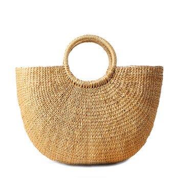 2017 соломенная сумка в форме Луны, летняя пляжная сумка, Женская Повседневная дорожная сумка для покупок, Большая вместительная тканая сумка...