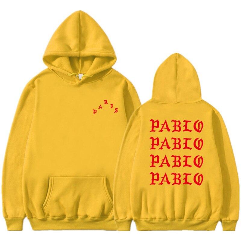 Sudadera con capucha I Feel Like Pablo con estampado de letras rojas para hombres, sudaderas Hip Hop para hombres y mujeres, ropa de rapero, ropa de lana, Jersey, Tops