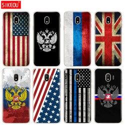 Silicone case capa do telefone para Samsung Galaxy J3 J5 J7 2017 J330 J530 J730 PRO j2 2018 Russo e Americano Britânico bandeira nacional