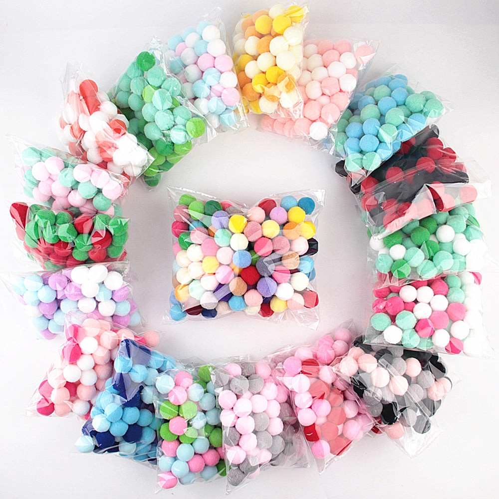 Pompom 8mm 10/15/20/25/30mm Multi Color Fur Craft DIY Soft Pom Poms Balls Wedding Decor Sewing Cloth Ball for DIY Kids Toys