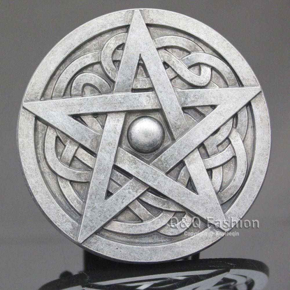 Moda superior marca nova western men prata chapeado trinity nó pentagrama estrela rodeo cinto fivela wicca legal