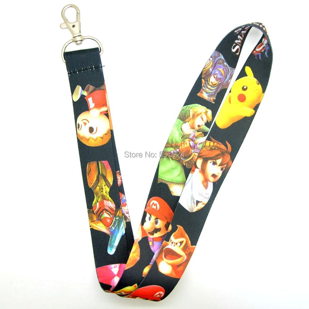 New Mario 10Pcs Mario Zeda Key ID Card Cell Phone Neck Strap Lanyard
