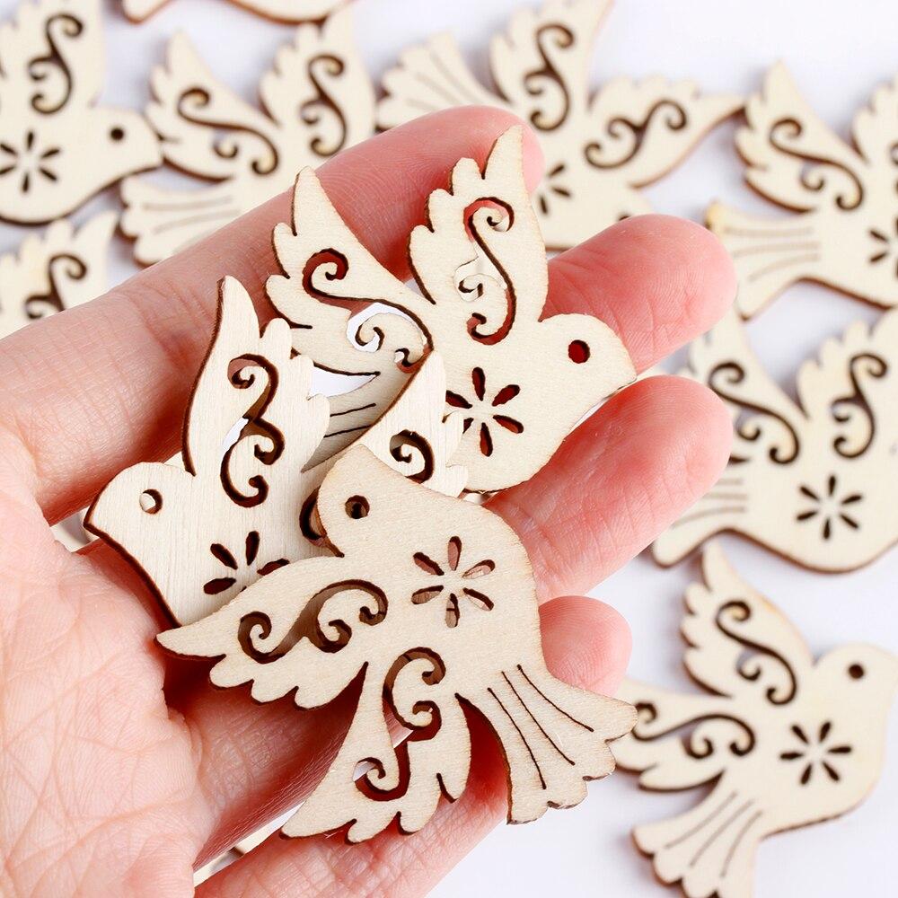 Piezas de madera de paloma de la paz sin terminar de moda álbum de recortes adorno de madera Natural manualidades para hacer tarjetas decoración de aves 10 Uds