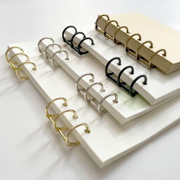 2 uds DIY planificador espiral Carpeta de hojas sueltas anillo A5 A6 A7 Clip de acero inoxidable, relleno de papel Notebook accesorios para carpetas