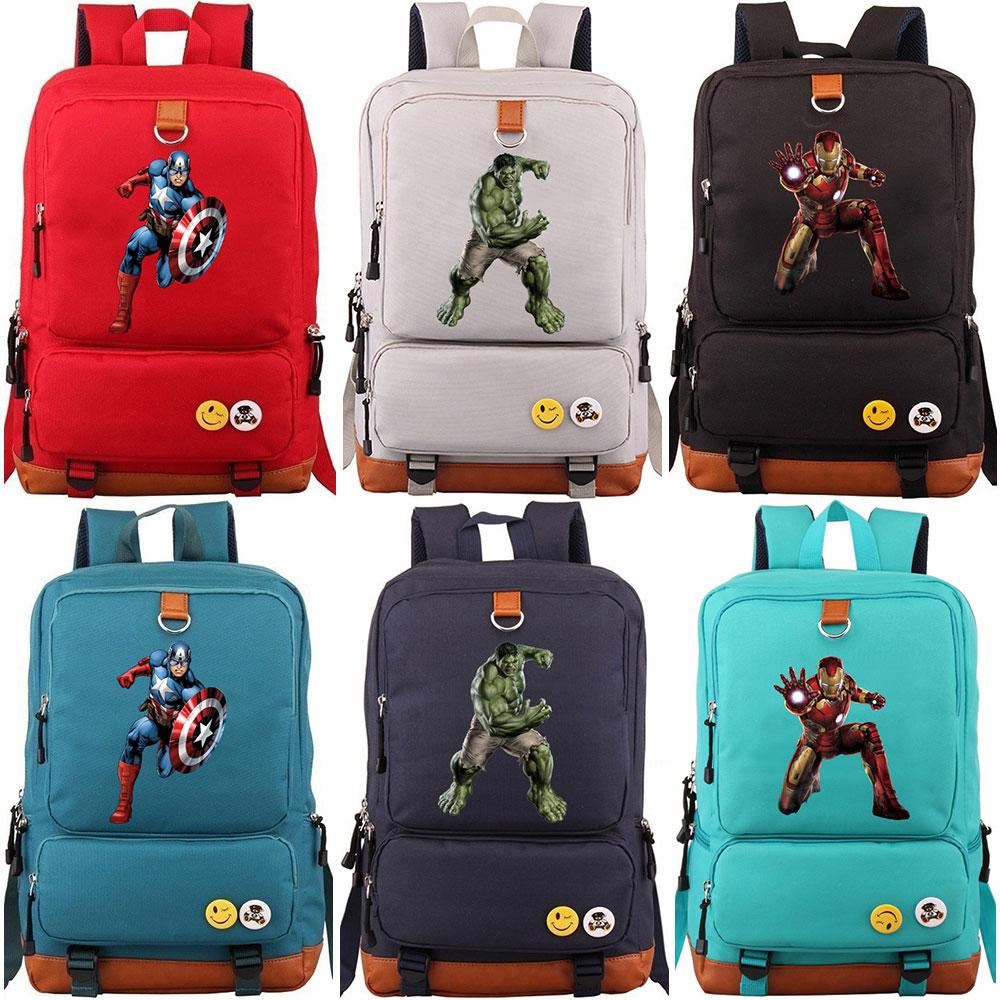 Bolso de la Escuela de Hulk Ironman Capitán América niño niña mochilas para adolescentes de lona mochila de estudiante para hombres