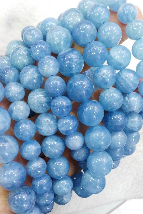 AA grado 6 8 10 12 14 16mm 8 pulgadas genuino aguamarina Beryl pulsera redonda bola azul cuentas