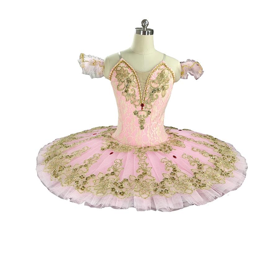 Pink Gold Fairy Classical Professional Ballet Tutu Girls Platter Tutus Adult Sleeping Beauty Pancake Tutu Stage Costume Women недорого