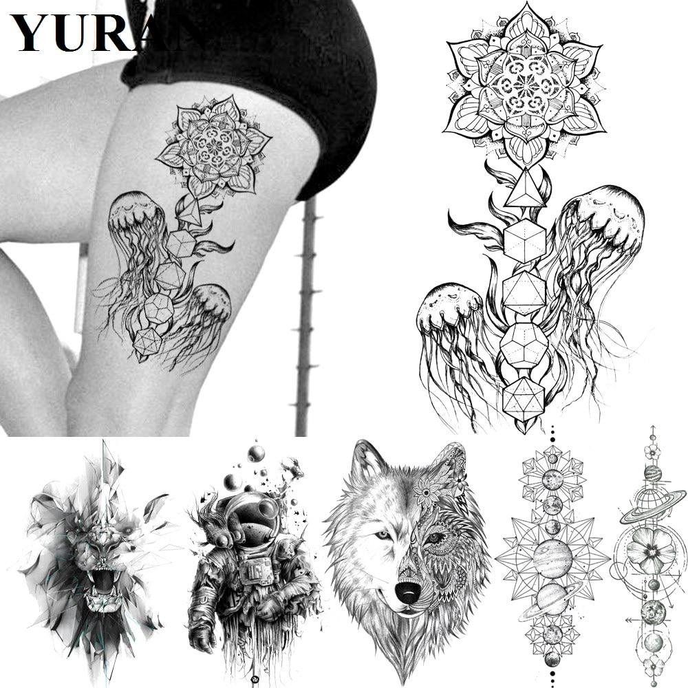 Tatuajes de Medusa negra, Lobo, Mandala, flor de Henna, pegatinas falsas, Cuerpo impermeable, brazo, piernas, tatuaje temporal, arte personalizado de India