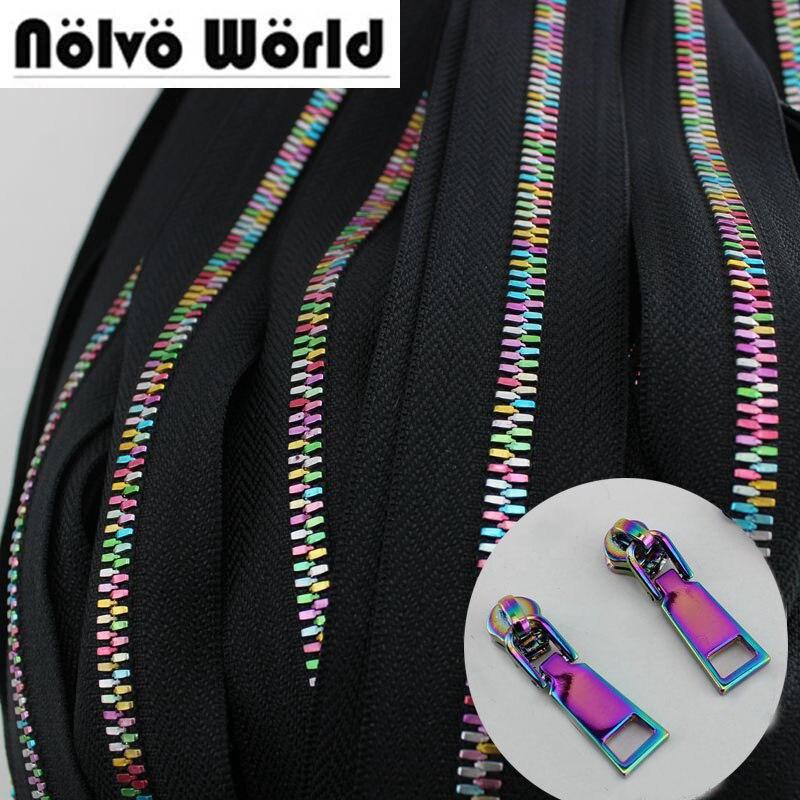 10Yards NEW Rainbow 5#Metal teeth zipper head plus movable zipper  metal for bags,garments fabric NO.5 Metak teeth