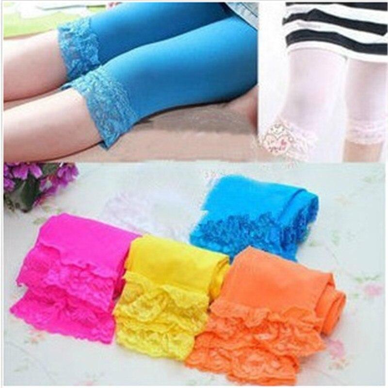 Toddler Girls Lace Velvet Leggings summer kids stretch skinny capris Pants Bottoms Solid candy color