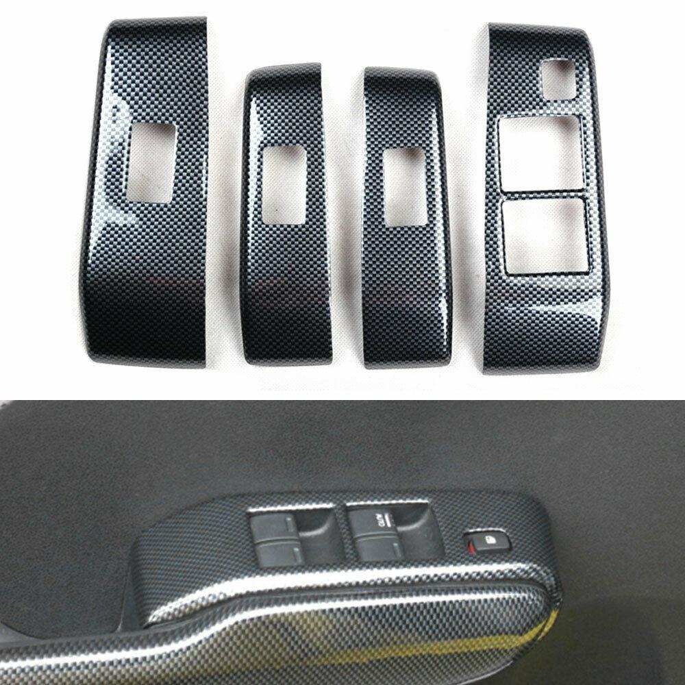 Embellecedor de Panel de botones de fibra de carbono para HONDA FIT 2008-2013