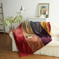 SILIKOLOVE 2 Sizes Multi-Function Aztec Navajo BohemianCottonSofaBlanket For Sofa Cover Portable Car Travel Cover Blanket