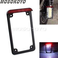 """7"""" x 4"""" Standard License Plate Frame with LED Licence Plate Light Bracket Holder for Harley Cafe Racer Chopper"""