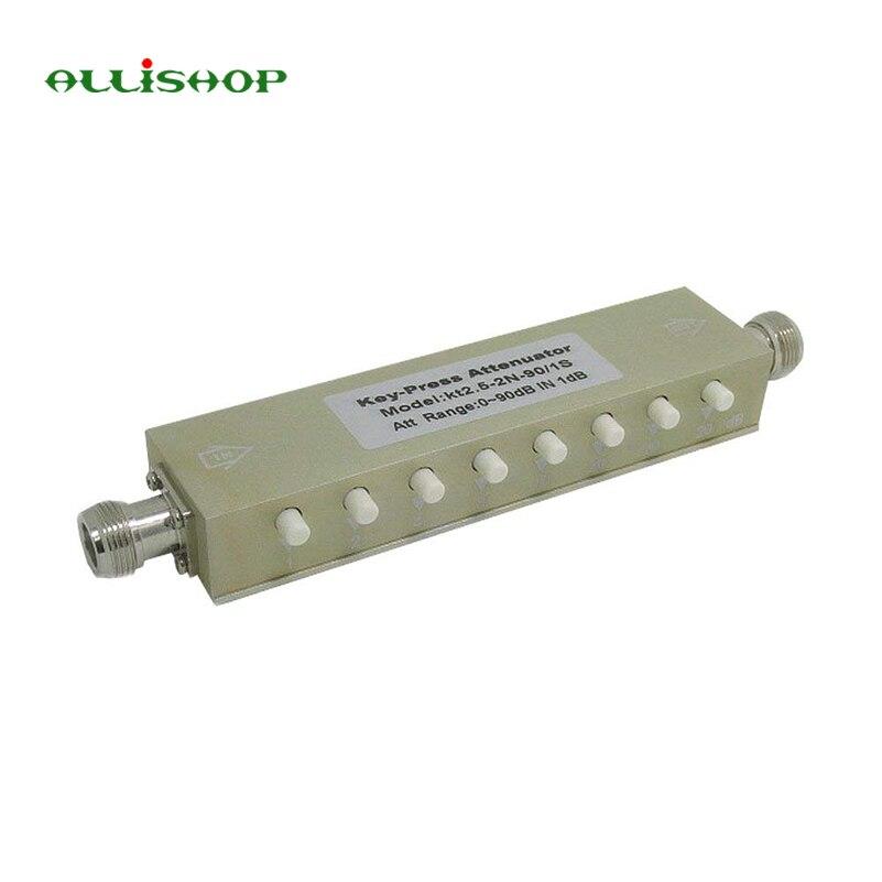 ALLiSHOP جديد قابل للتعديل متغير المخفف N 5W 0-90dBi DC-2.5GHZ 50ohm RF محوري 8-مفتاح