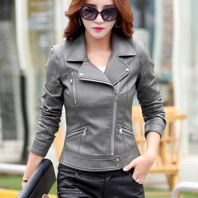 Chaqueta mujer Autumn Motorcycle Plus size Leather Jacket 2018 Women Fashion New Style Body Wash Skin Black PU Leather Parka 793 enlarge