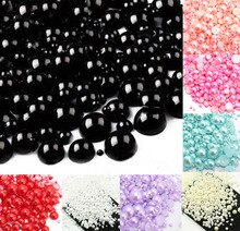 500 Stücke Gemischt 2-10mm Schwarz Beinahe Ringsum Perlen Handwerk Cabochon Sammelalbum Dekoration Flatback Nailart Garment perlen DIY