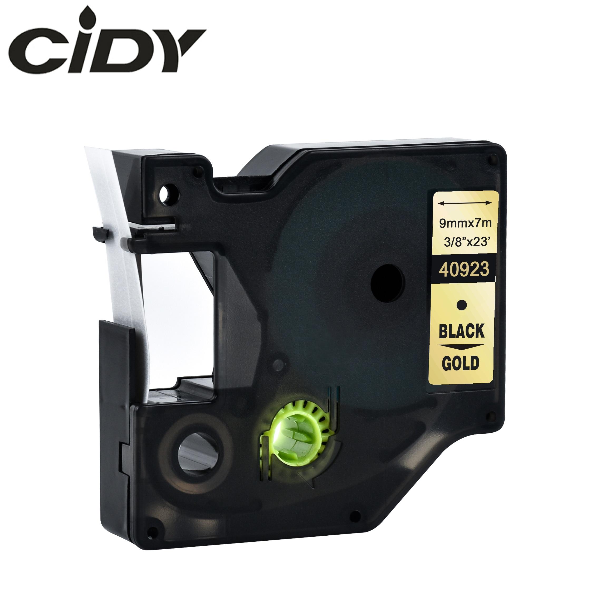 Cidy 40923 совместимый с DYMO D1 manager 9 мм черный на золотом принтер для этикеток dymo Кассета для Dymo label manager LM 160 280