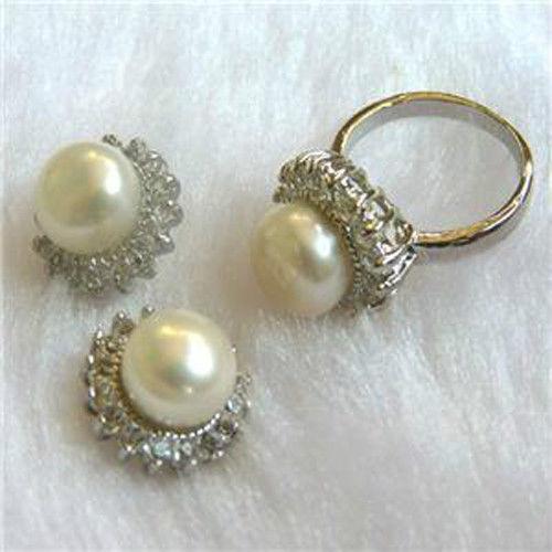 ¡Precio de fábrica! ¡venta al por mayor! joyería Noblest anillo de perlas cultivadas Akoya blanco + pendiente