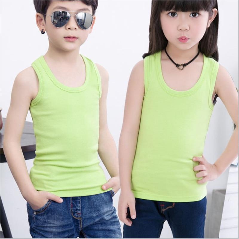 Kids toddler children's boys sleeveless tank tops tee underwear undershirt for baby boy girl summer cotton candy color tanks new