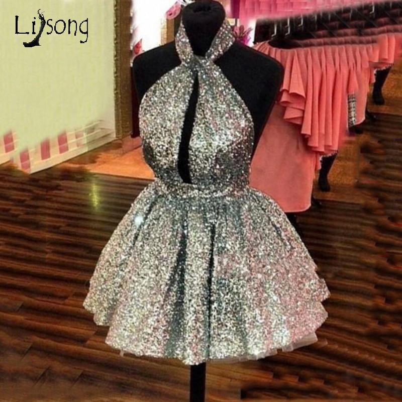 فستان قصير لامع للحفلات الراقصة للنساء ، رخيص ، لون فضي وذهبي ، ظهر مفتوح ، مثير