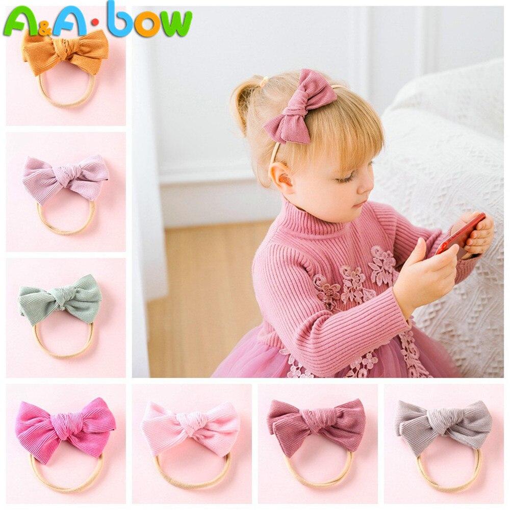 1pcs Corduroy Bow Headband For babys Lovely Bowknot Elastic Nylon headands Solid Headwear Head Band babys Hair Accessories