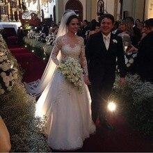 Vestido De Noiva 2020 긴 소매 웨딩 드레스 레이스 appiques 신부 가운 깎아 지른 o-넥 a-라인 페르시 환상 웨딩 드레스