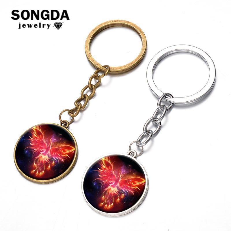 SONGDA Immortal Bird Phoenix Dragon Key Chain Rebirth Fire Bird Pendant Key Ring Holder Llavero Inspired Art Totem Alloy Keyring