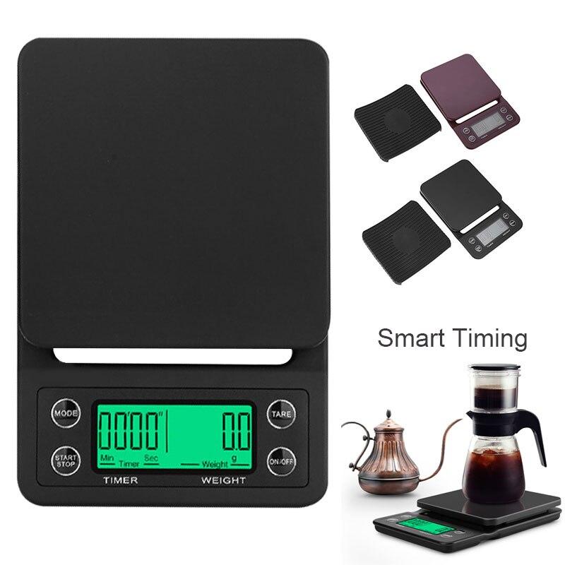 Báscula de café de peso digital LCD 3kg 5 kg/0,1g minibalanza portátil temporizador electrónico Balanza de alimentos de cocina o cafetería negro marrón