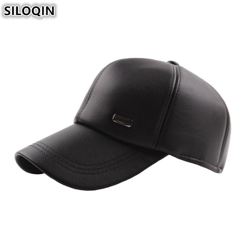 SILOQIN Adjustable Size Men's Winter Hat Plus Velvet Thick Warm Earmuffs Hats For Men Simple Casual Baseball Caps Snapback Cap