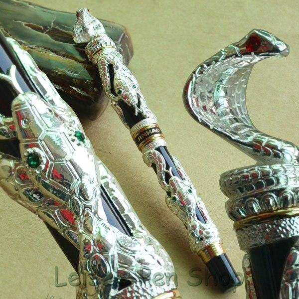 JINHAO plata serpiente viento medio 18KGP NIB pluma estilográfica